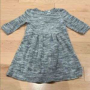 Grey stripey velvet dress